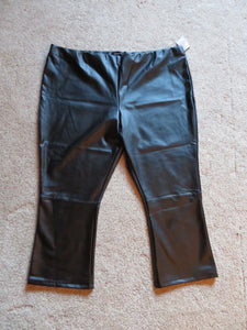 NEW Women's Black Leather Pants Size 26W WHO WHAT WEAR