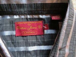 NEW Platini Jeans Co. Men's Shirt Size L. Black metallic/silver