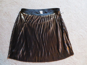 NEW Women's Skirt Size 3X AVA & VIV Holiday Gold and Black Pleaded