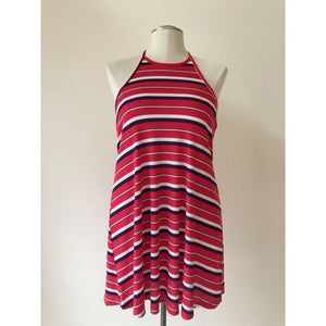 Mossimo Women's Sundress Halter Top Red Blue White Striped