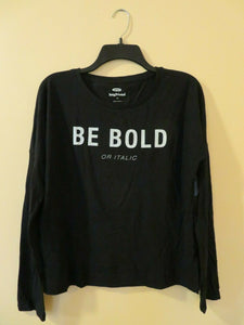 Old Navy Women's Top Size XS, Size M, Size XL Boyfriend Black Long Sleeve 100% Cotton Be Bold