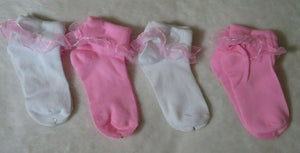 Little Girl's Ruffle Sock Size S 7-8.5 Lot of 4 NEW