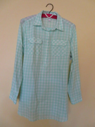 NEW Maternity Top Size S Isabel Maternity Plaid Shirt Mint and Green Back Tie