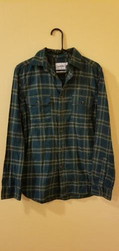 NEW Men's Flannel Shirt Plaid Size Small Goodfellow Green Plaid