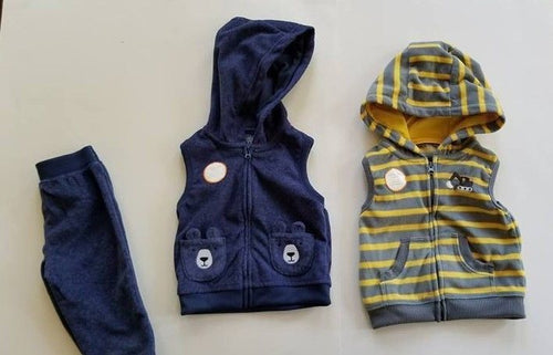NEW Boys Fleece Vests w/ Pants Size 9 Months Carters