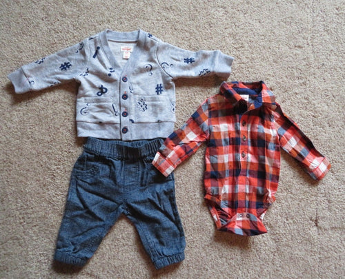 NEW Baby Boy Shirt Jacket Pants Set Size 0-3 Months Cat & Jac