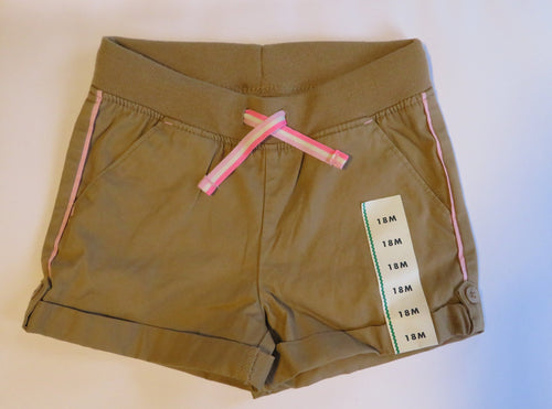 Baby Girl Shorts Size 18 Months Beige Pink 100% Cotton NEW Cat & Jack