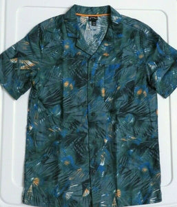 NEW Boy's Shirts Size Small (6/7) Jungle Pattern Hawaiian Green Cotton/Linen
