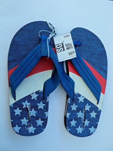 NEW Boy's Flip Flips Sizes Small (13/1) Medium (2/3) Large (4/5) Patriotic Blue