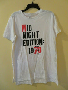 Old Navy Women's T-Shirt Top Size M Tunic White 100% Cotton NEW 1970's Mid Night Edition