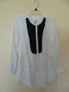 Old Navy Women's Top Size XS Tunic Style Semi Sheer White and Black Long Sleeves NEW