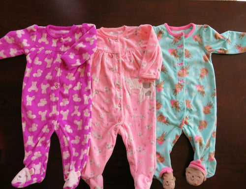 Girl's Sleeper Pajamas Size 6 M Carters Just One You Footed Fleece
