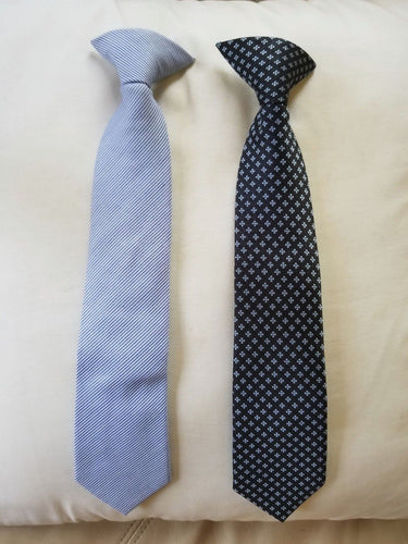 NEW Boy's Necktie Clip On Blue Lot of 2 Cat & Jack Size Small 6/7 Clip Tie