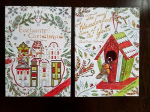 NEW Adult Coloring Books Set of 2 Christmas Theme Beautiful Patterns
