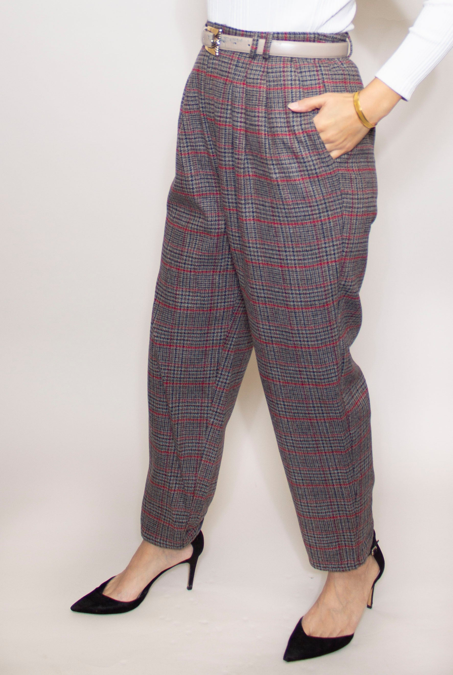 Pleated Check Hi-Waist Trouser