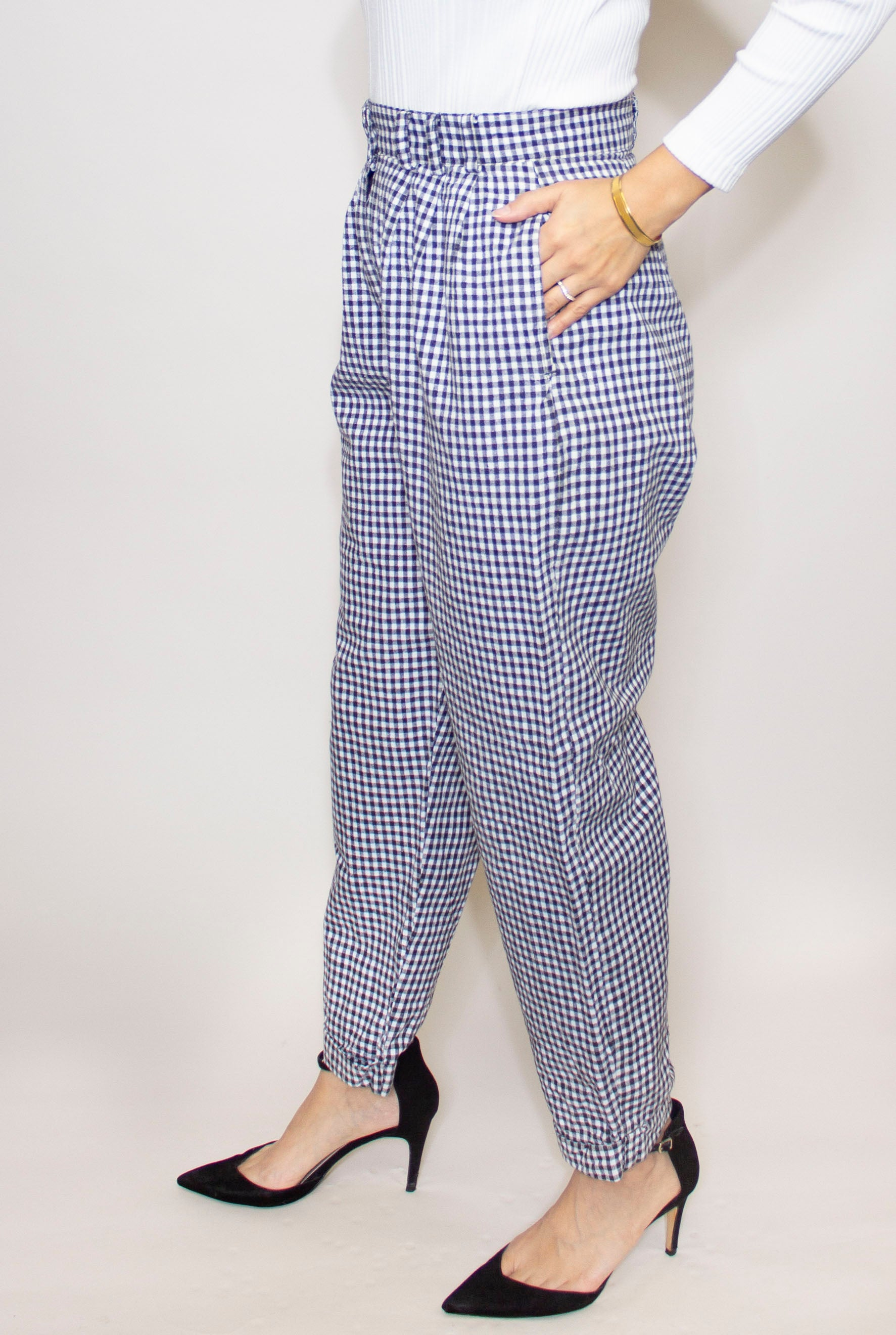 Wide Leg Check Trouser