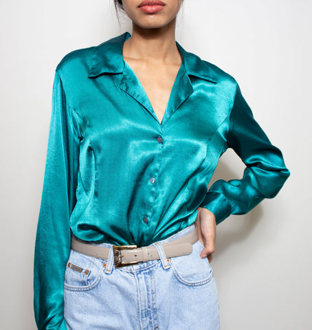 Teal Gold Buttonup Blouse