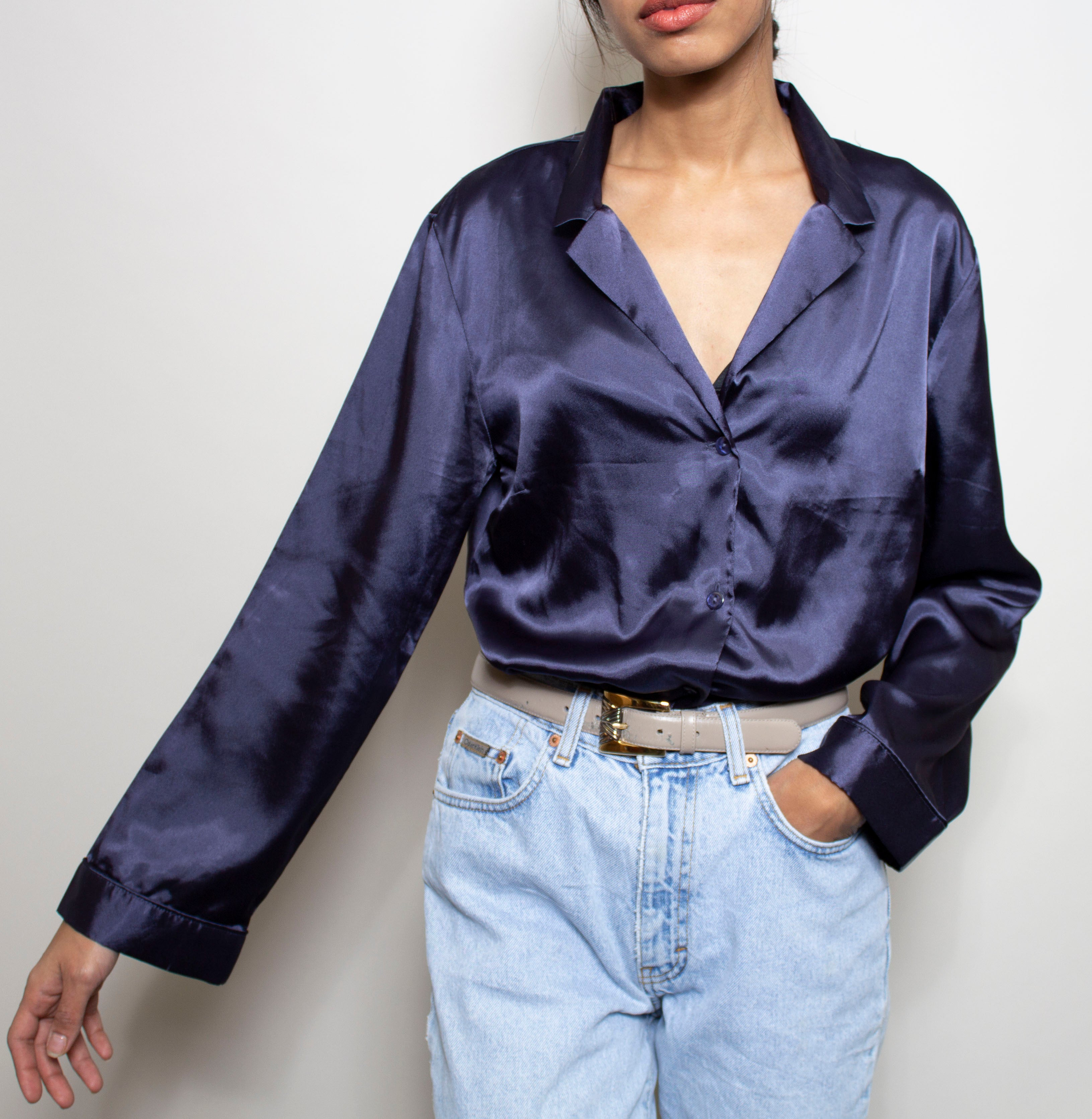 Navy Wide Sleeve Blouse