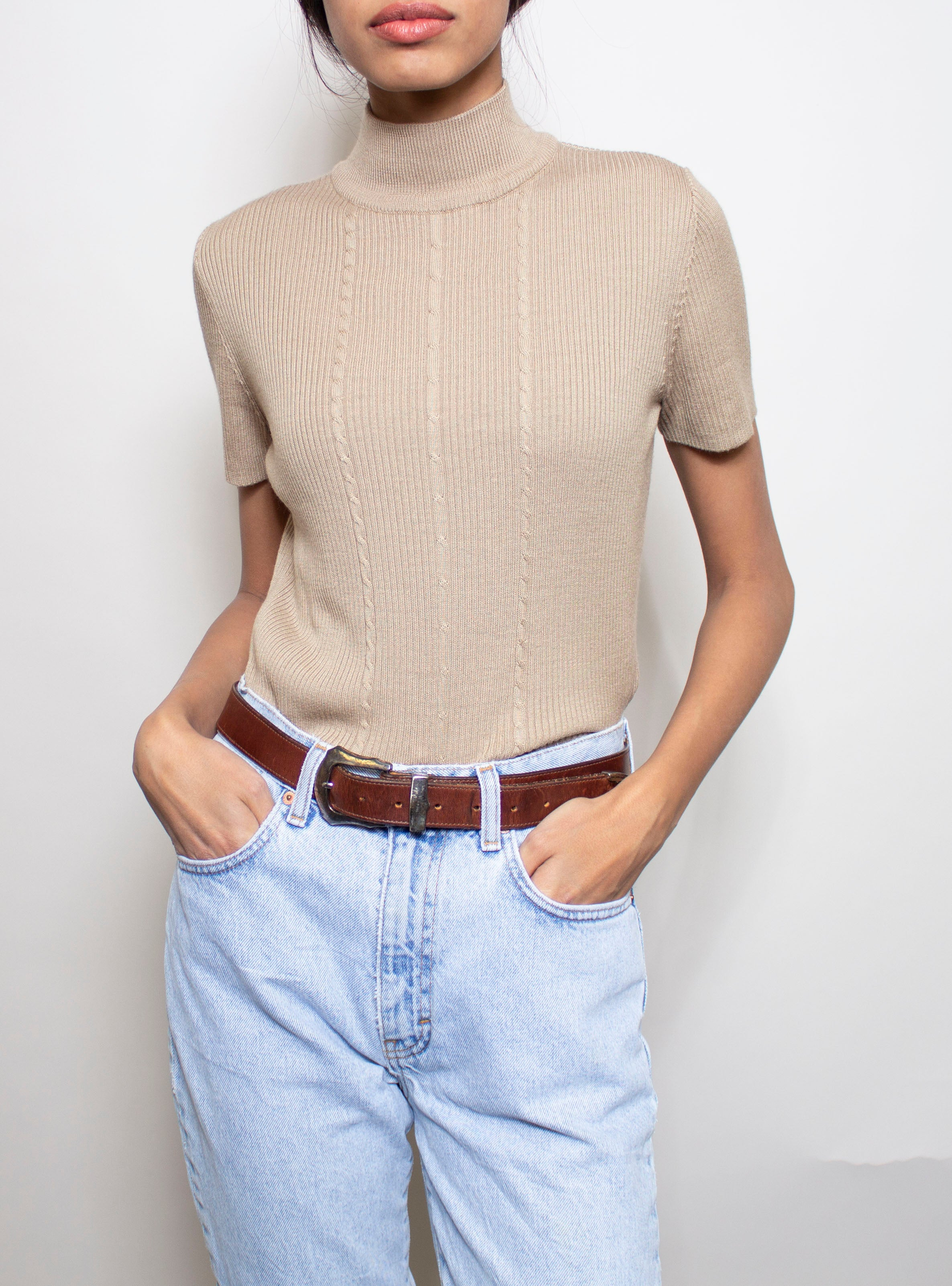 Beige Short Sleeve Turtleneck