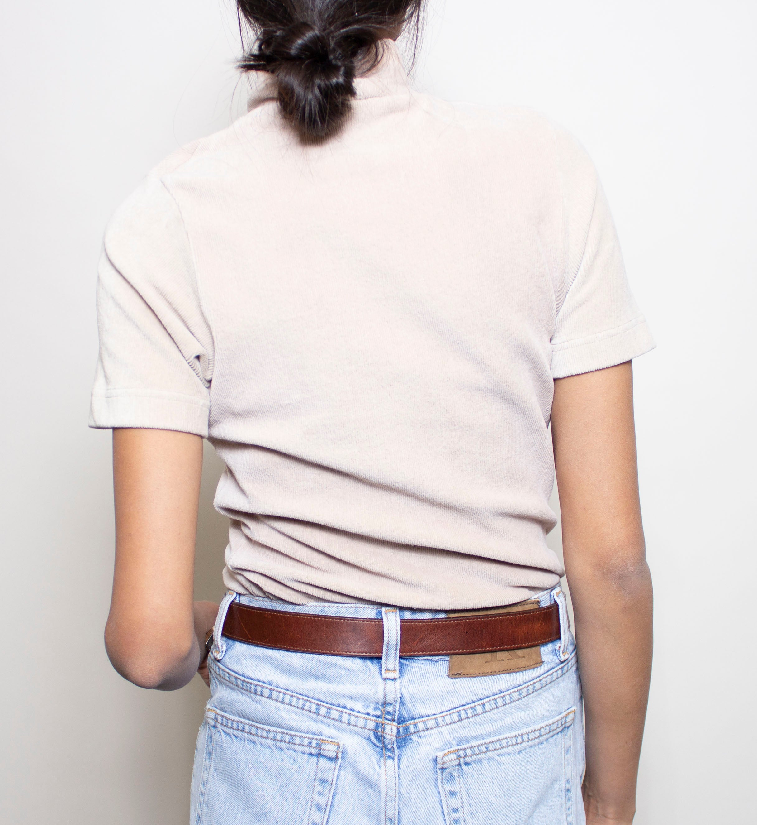 Beige Short Sleeve Mock Neck