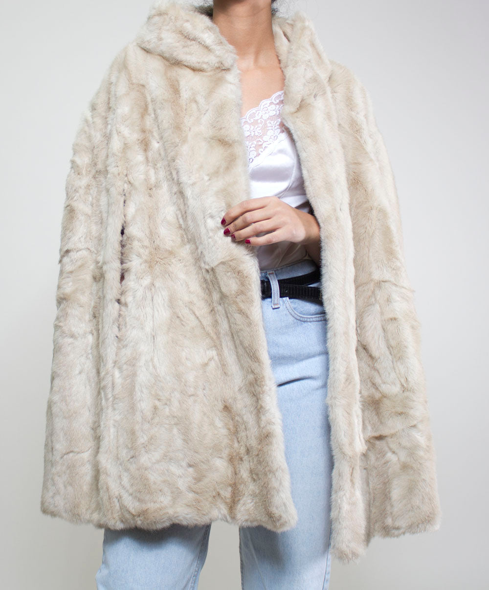 Olivia Faux Fur Cape Coat