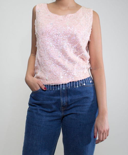 Bubble Gum Sequin Top
