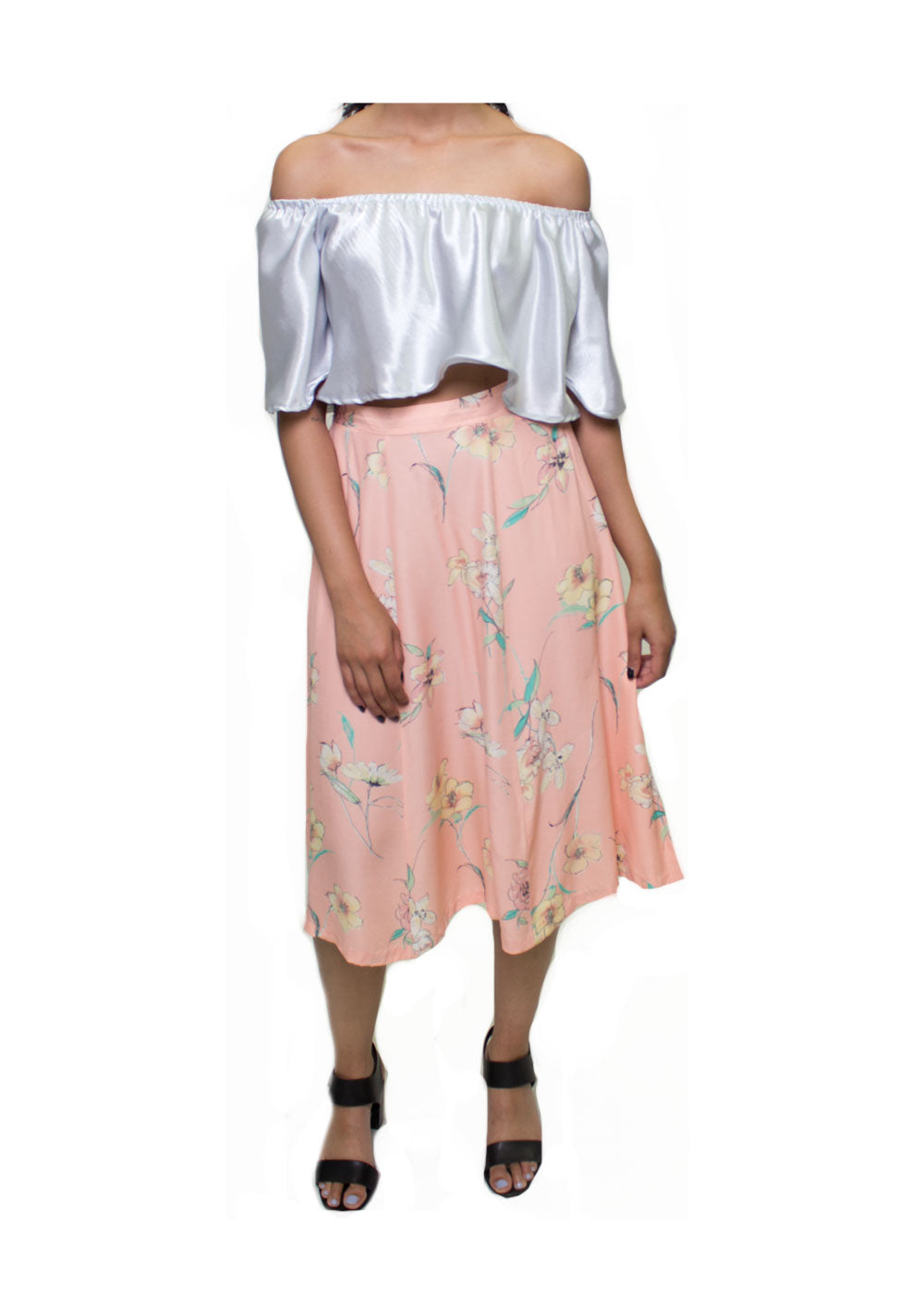 Bria Peach Floral  Skirt