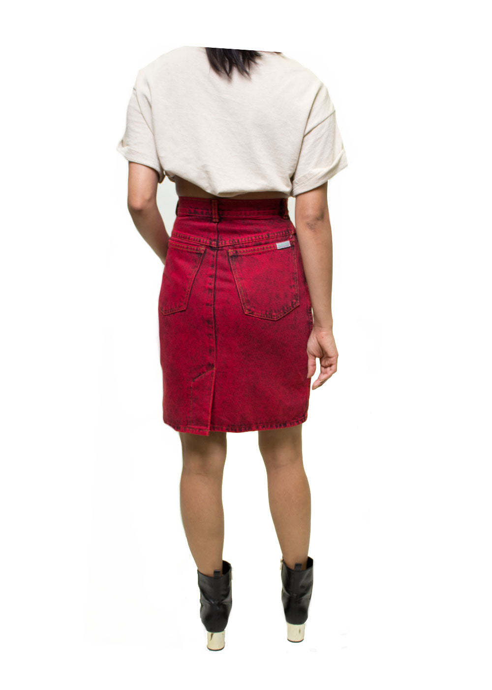 Red Denim Skirt