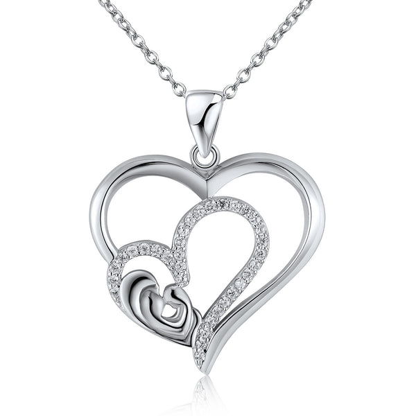 Sterling silver necklace dual heart pendant snatched bae sterling silver necklace dual heart pendant aloadofball Images