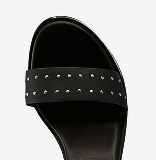 ANNY NORD sandal, style name 24-7 with studs, black leather with silver studs.  Velcro closure and cylinder shaped heel. Top view photo.