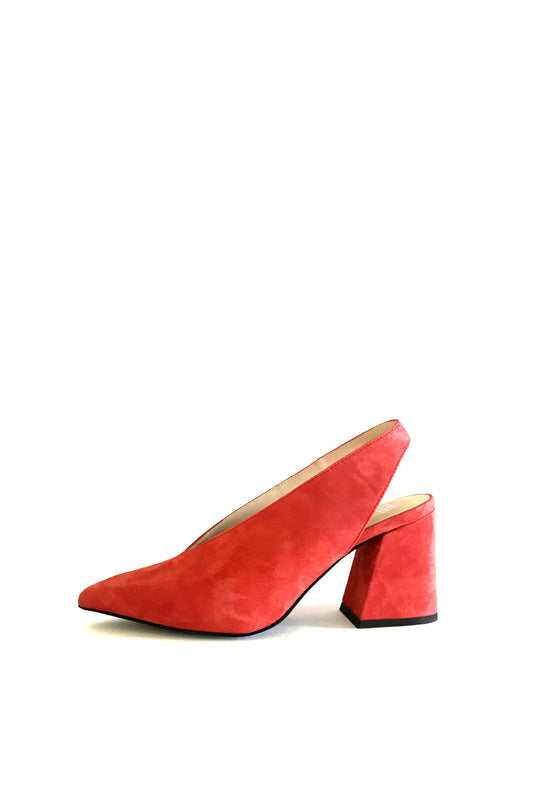 Sling back in bright poppy red kid suede from Swedish shoe brand ANNY NORD. These are heels you can actually walk in.