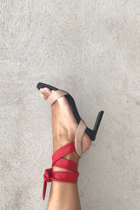 Wrap tie, color blocking party sandalette from Swedish shoe brand ANNY NORD. Heel height 80 mm.