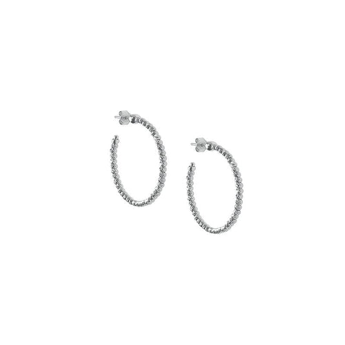 Sterling Silver Beaded Hoop Earring by Officina Bernardi