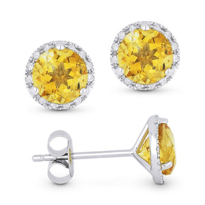 White Gold Citrine & Diamond Halo Studs