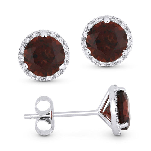 White Gold Garnet & Diamond Halo Studs