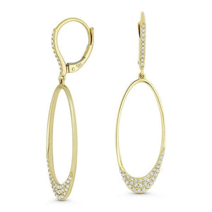 Yellow Gold & Diamond Oval Drop Earrings
