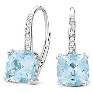 White Gold, Blue Topaz & Diamond Earrings