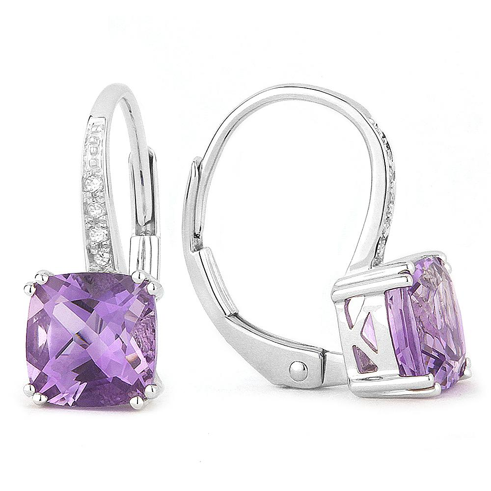 White Gold, Amethyst & Diamond Earrings