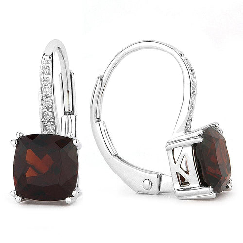 White Gold, Garnet & Diamond Earrings