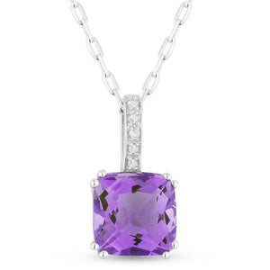 White Gold Amethyst & Diamond Pendant
