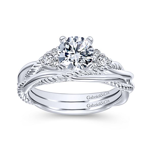 14k White Gold Round Twisted Diamond Engagement Ring From Italy With Love Jewelers