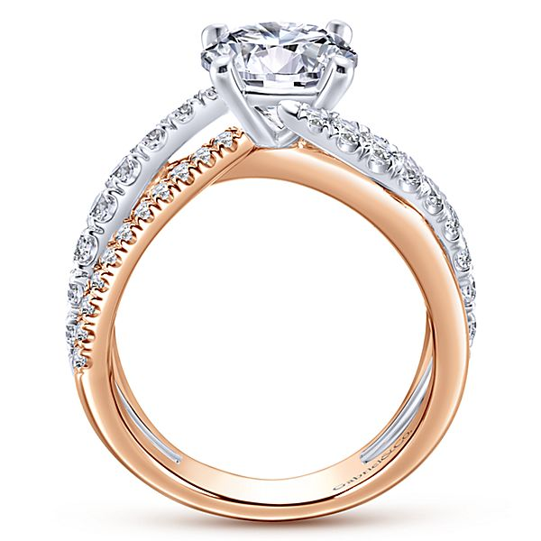 3bb1a5243c2cf 14k White/Rose Gold Round Free Form Diamond Engagement Ring