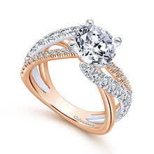14k White/Rose Gold Round Free Form Diamond Engagement Ring