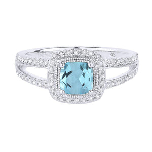 White Gold Blue Topaz & Diamond Ring