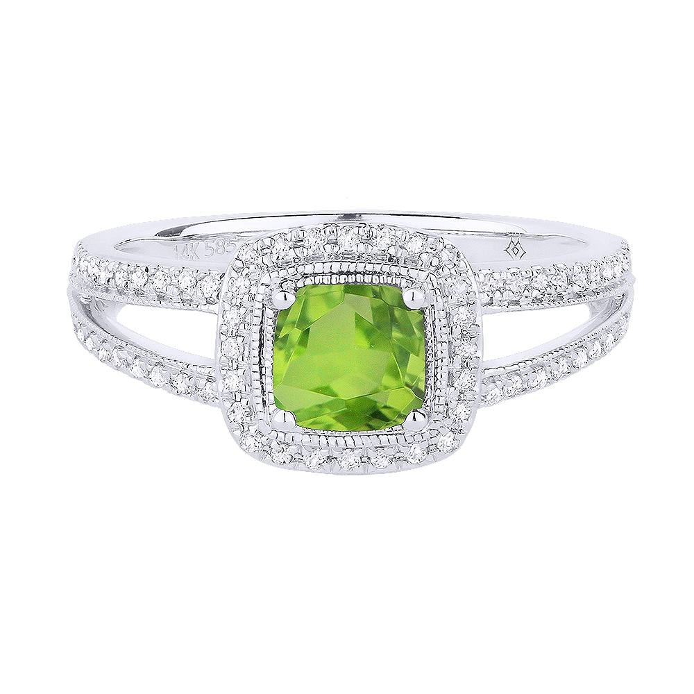 White Gold Peridot & Diamond Ring