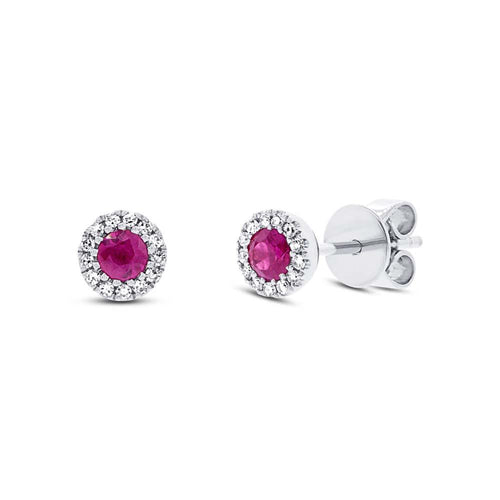 White Gold Ruby and Diamond Earrings