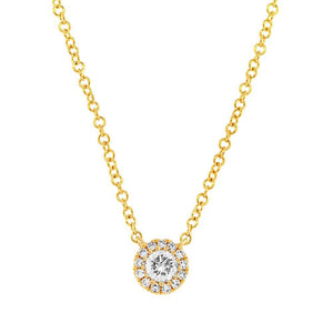 Yellow Gold Diamond Solitaire Style Necklace