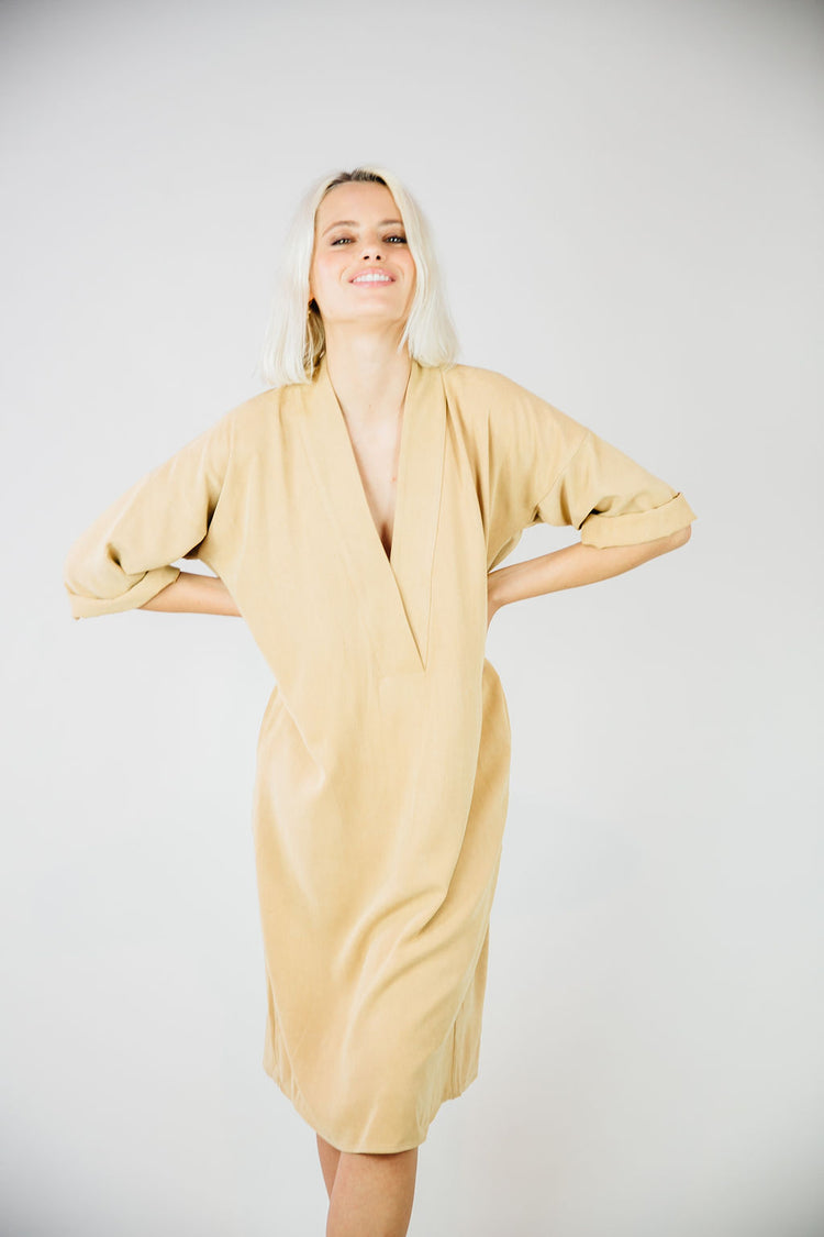 The Kimono Dress-Almond Tan