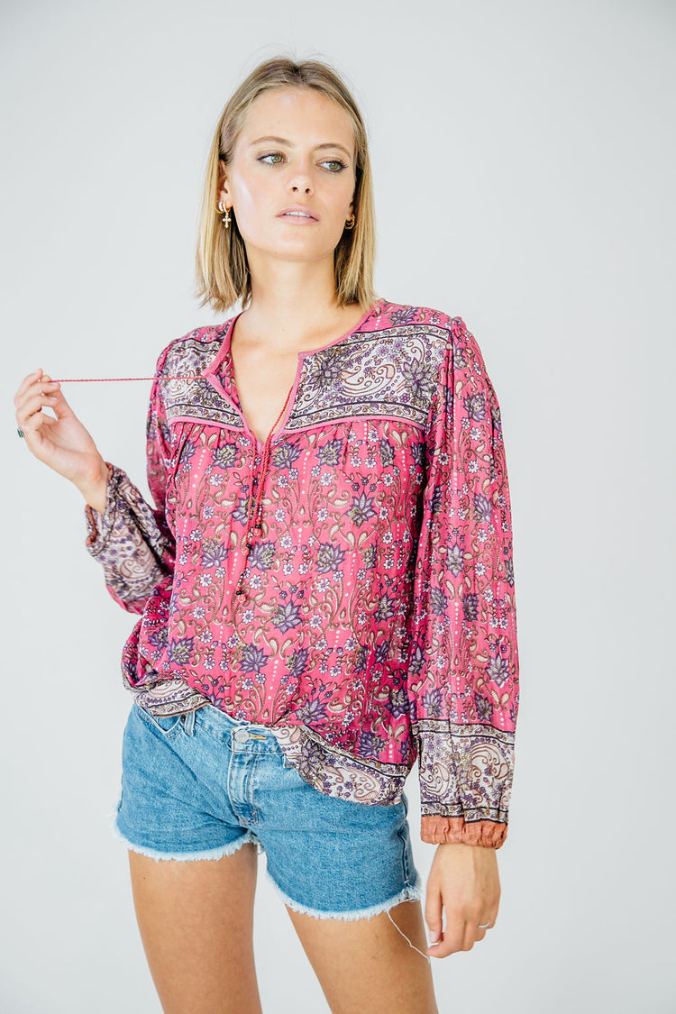 Vintage Long Sleeve Top- Magenta