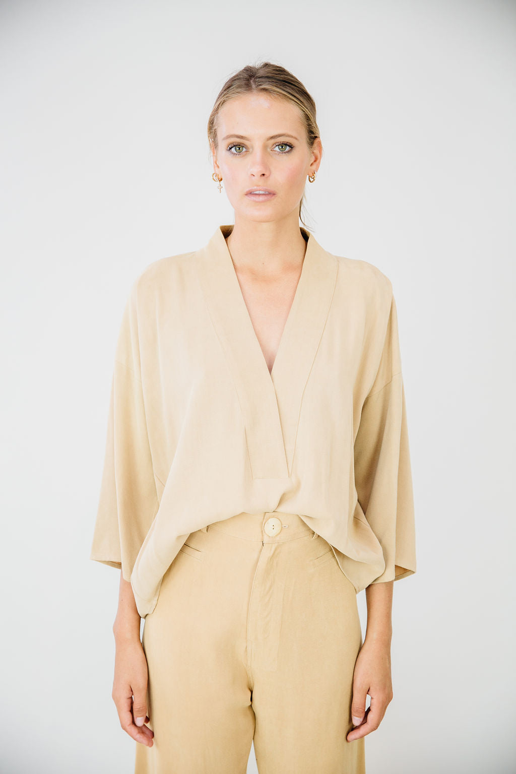 The Kimono Top-Almond Tan